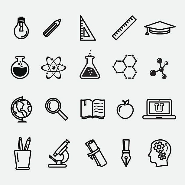 Einfache Bildung und Wissenschaft icons – Vektorgrafik