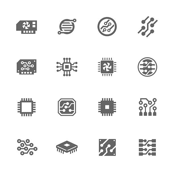 Simple Electronics icons Simple Set of Electronics Related Vector Icons. Contains such icons as circuit, processor, microscheme and more. computer chip stock illustrations