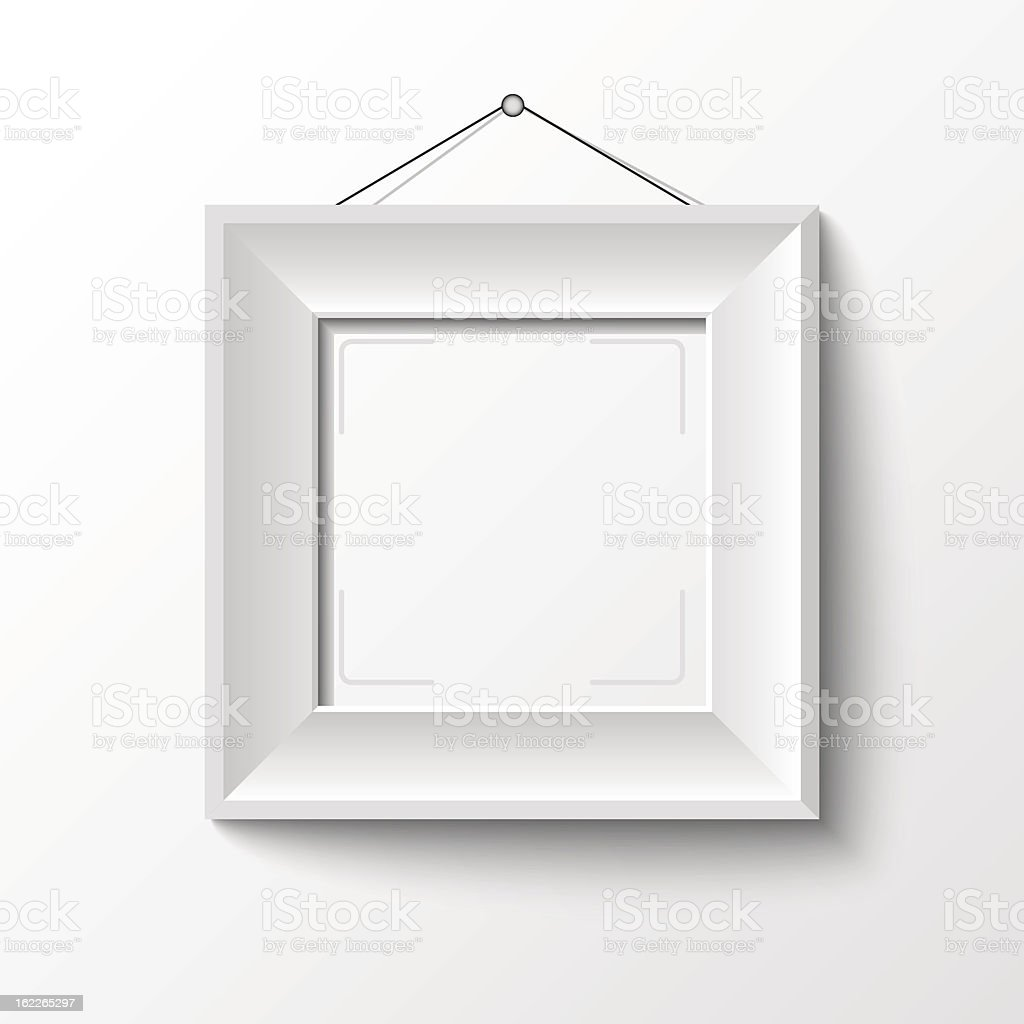 Simple empty white frame on white wall vector art illustration