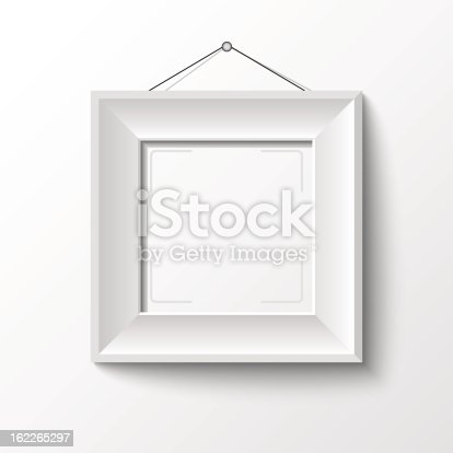 Simple Empty White Frame On White Wall Stock Vector Art & More ...