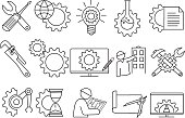 Simple engineer vector line Icons. Editable stroke. Pixel perfect.