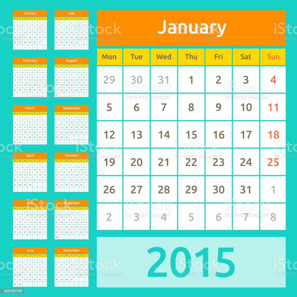 Calendario Anno 2015.Vettoriale Semplice Europeo Anno 2015 Calendario Immagini