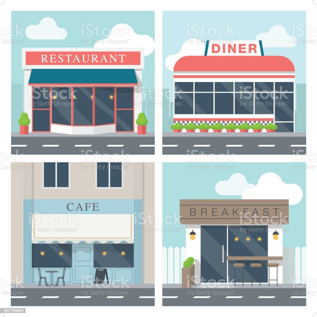 4 Simple Exterior Illustration Of Restaurant Building Stock Illustration Download Image Now Istock