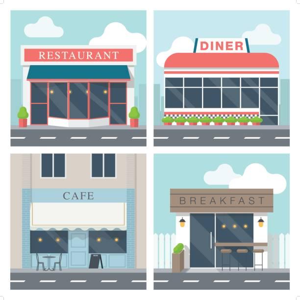 4 simple exterior illustration of restaurant building vector art illustration