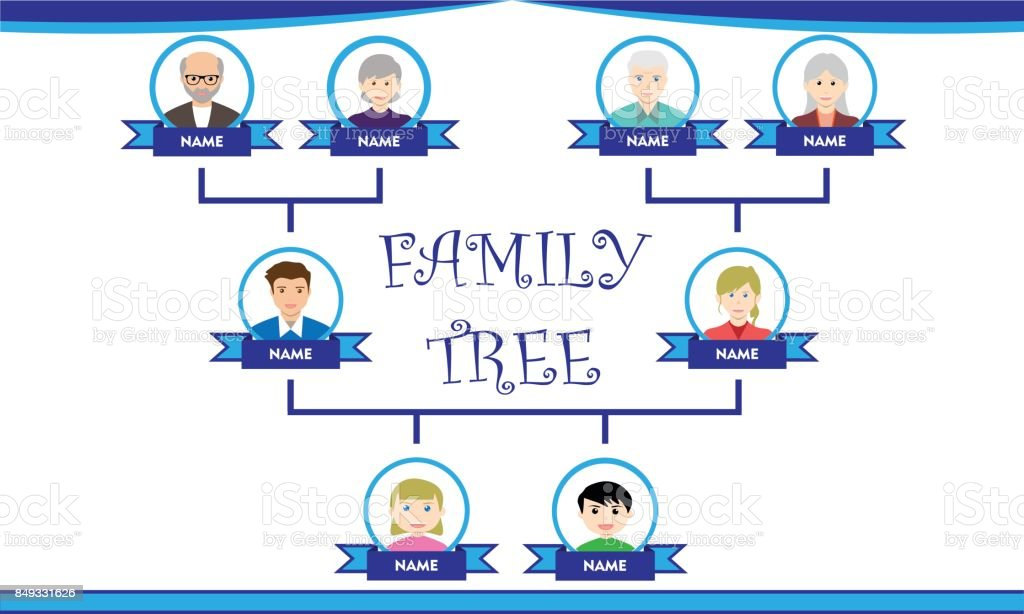 Simple Family Tree vector art illustration