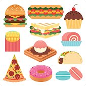 11 simple and colorful fast food and dessert icon set.