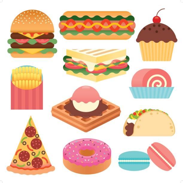 ilustraciones, imágenes clip art, dibujos animados e iconos de stock de conjunto de iconos de comida rápida simple - comida chatarra
