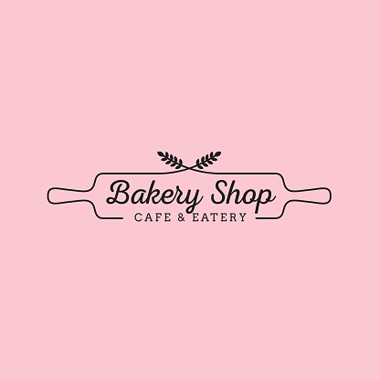 Simple feminine bakery logo design with wheat and wood rolling pin