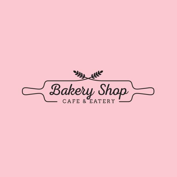 simple feminine bakery logo design with wheat and wood rolling pin - пекарня stock illustrations