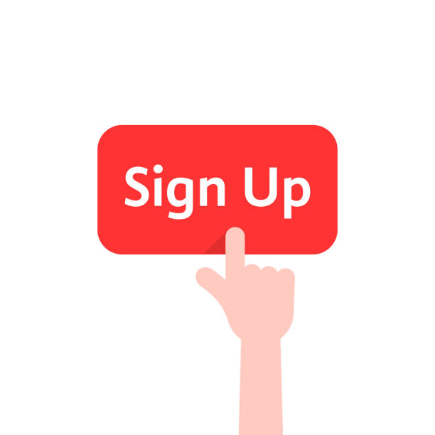 simple finger presses on sign up button isolated on white simple finger presses on sign up button isolated on white. concept of membership form ui on web site or webpage for member and on-line check in. flat style trend modern graphic design enter key stock illustrations