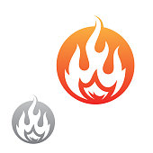 Simple Flat Round Fire Flame Vector Icon For Graphic Design