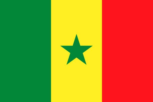 simple flag correct size, proportion, colors. - senegal stock illustrations