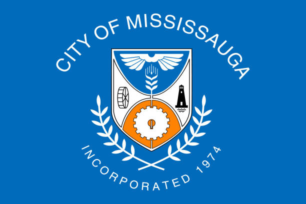 Simple flag of City of Canada Simple flag of Mississauga. City of Canada. Correct colors, proportion 2/3 mississauga stock illustrations