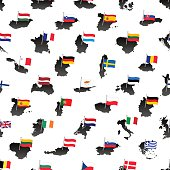 simple flags all european union countries on maps seamless pattern