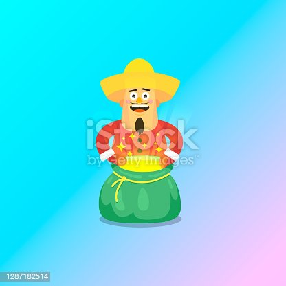 istock simple flat art vector illustration of joyful guy in a sombrero and Christmas outfit with an open shining magic bag in his hands 1287182514