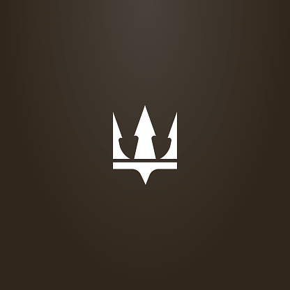 simple flat art vector sign of crown or trident Poseidon