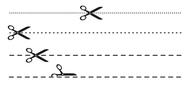 proste płaskie czarno-białe nożyczki i kropkowana lub przerywana ikona linii perforacji - ciąć stock illustrations