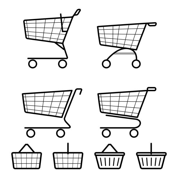 Simple flat black and white shopping cart and basket icons. Sale, retail concept. Vector vector art illustration