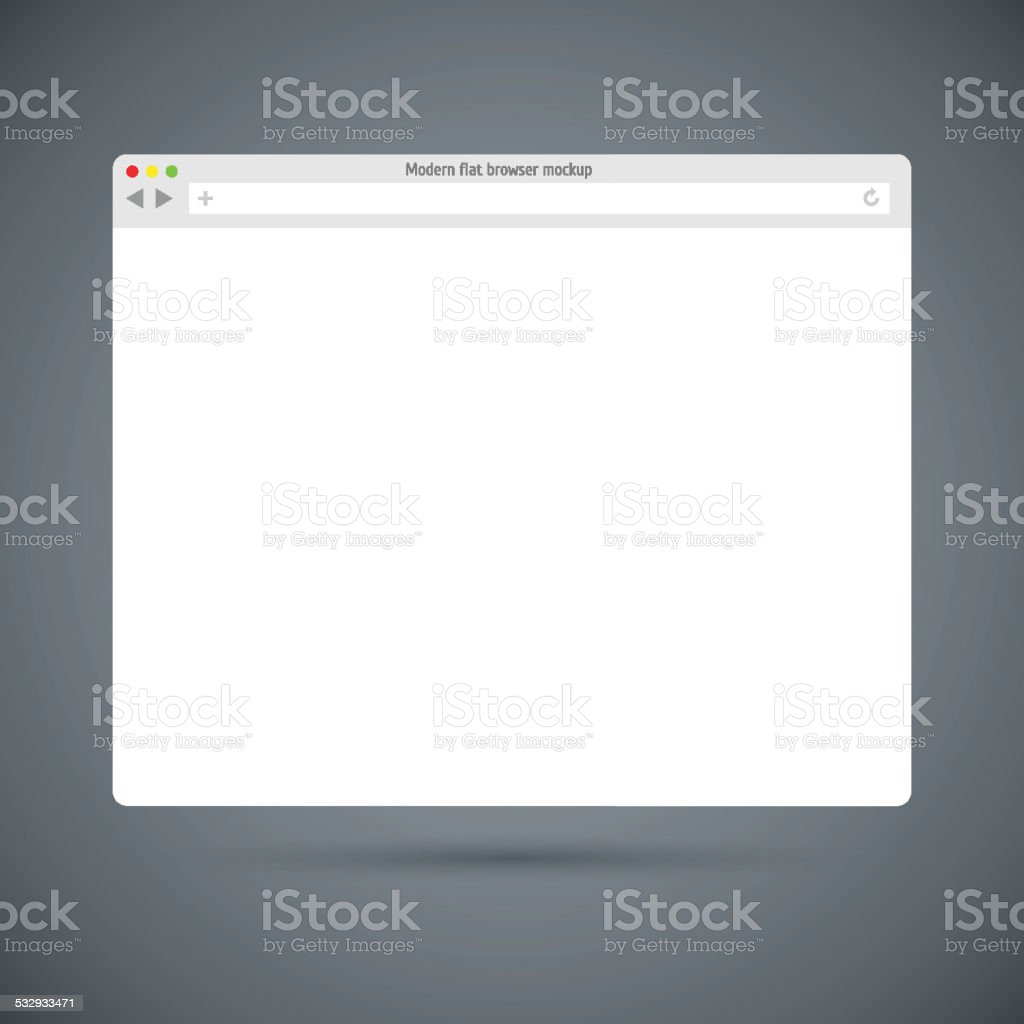 Simple flat browser window. Past your content into it. vector art illustration