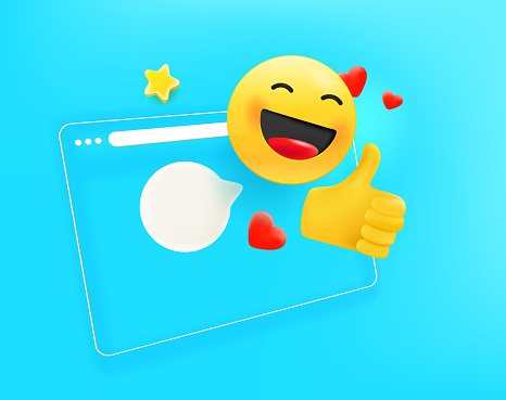 Simple flat browser window with thumbs up. 3d comic style editable vector illustration