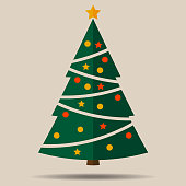 simple flat christmas tree with christmas ornaments vector illustration