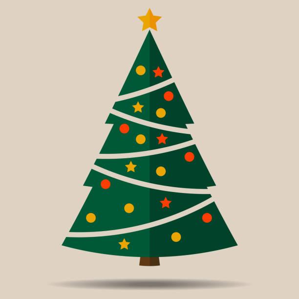 simple flat christmas tree with christmas ornaments simple flat christmas tree with christmas ornaments vector illustration christmas trees stock illustrations