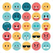 A set of 25 simple flat emoticon in various expression. All objects are group individually.