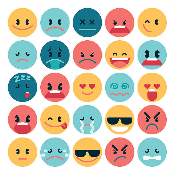 simple flat emoji A set of 25 simple flat emoticon in various expression. All objects are group individually. displeased stock illustrations