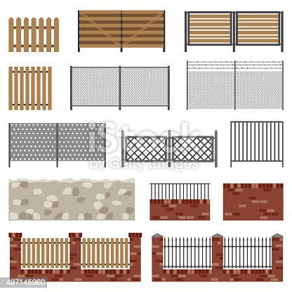Fences of different structures and materials in flat style. Simple vector icons.