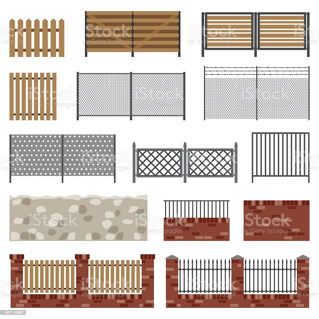 Simple flat fences. vector art illustration