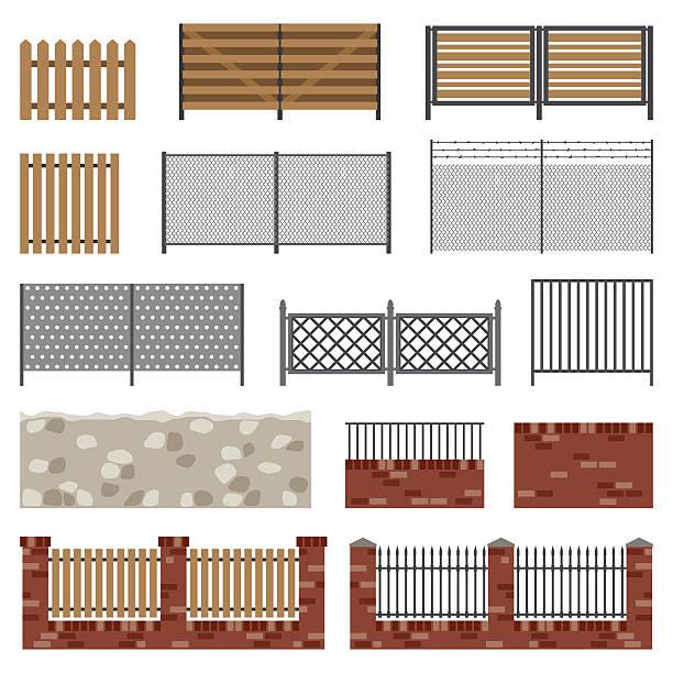 bildbanksillustrationer, clip art samt tecknat material och ikoner med simple flat fences. - wood stone