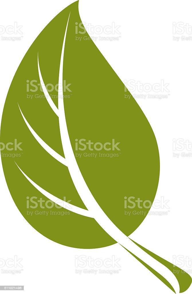 Simple flat green deciduous vector tree leaf, nature element vector art illustration