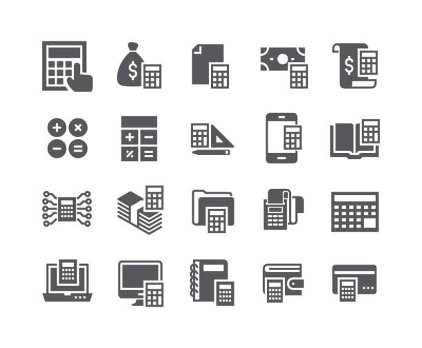 einfach flach hochwertige vektor icon-set, im zusammenhang mit berechnung symbolsammlung, banking, quittungen, engineering, taschenrechner und more.48x48 perfekte pixel. - kassenbon grafiken stock-grafiken, -clipart, -cartoons und -symbole