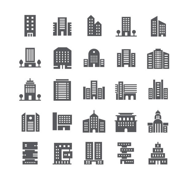 Simple flat high quality vector icon set,government and commercial city buildings and institutions and more. 48x48 Pixel Perfect. vector art illustration