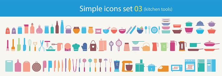 simple flat kitchen tools icon set, vector illustration