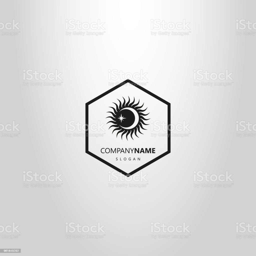 simple flat logo of the moon and stars in a hexagon frame vector art illustration
