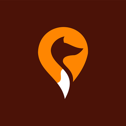 simple flat mark point Fox logo design
