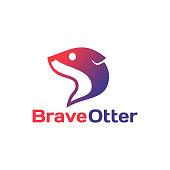Simple flat modern Otter logo design