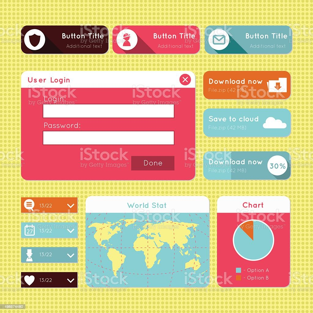 Simple flat modern UI design website elements vector art illustration