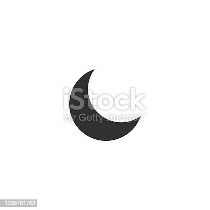Simple flat moon icon. Stock Vector illustration isolated