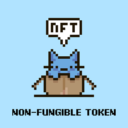 simple flat pixel art illustration of cartoon cute kitten sitting in an open cardboard box and speech-bubble with text NFT and non-fungible token in it