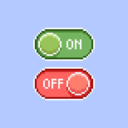simple flat pixel art illustration of cartoon red and green on, off switch icons