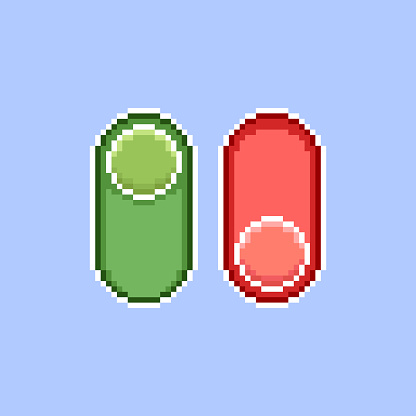 simple flat pixel art illustration of cartoon vertical red and green on, off switch icons