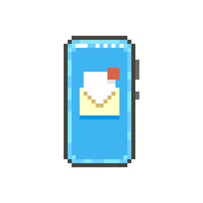 simple flat pixel art illustration of modern smartphone with open paper envelope with unread letter on the screen