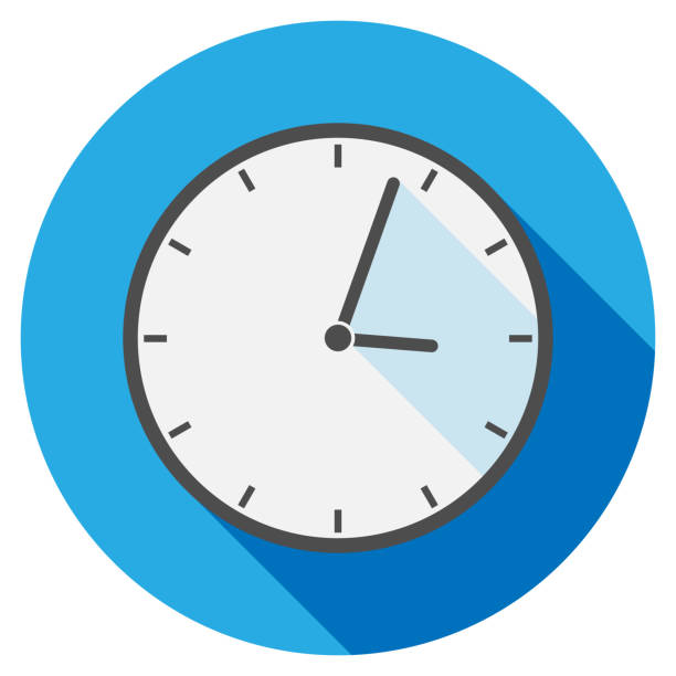 simple flat round clock icon or symbol simple flat round clock icon or symbol vector illustration wall clock stock illustrations