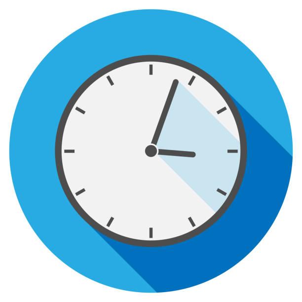 ilustraciones, imágenes clip art, dibujos animados e iconos de stock de simple icono de reloj redondo plano o símbolo - wall clock