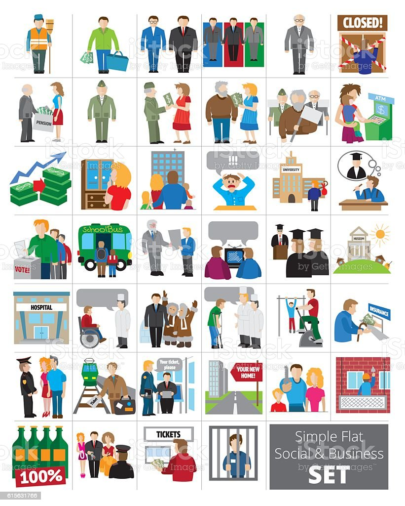 Simple Flat Social and Business icon set vector art illustration