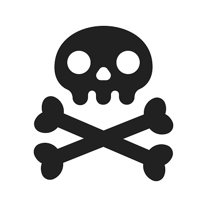 Simple flat style design skull with crossed bones icon sign vector illustration isolated on white background. Human part head, Jolly Roger pirat flag symbol or halloween element of scary decoration