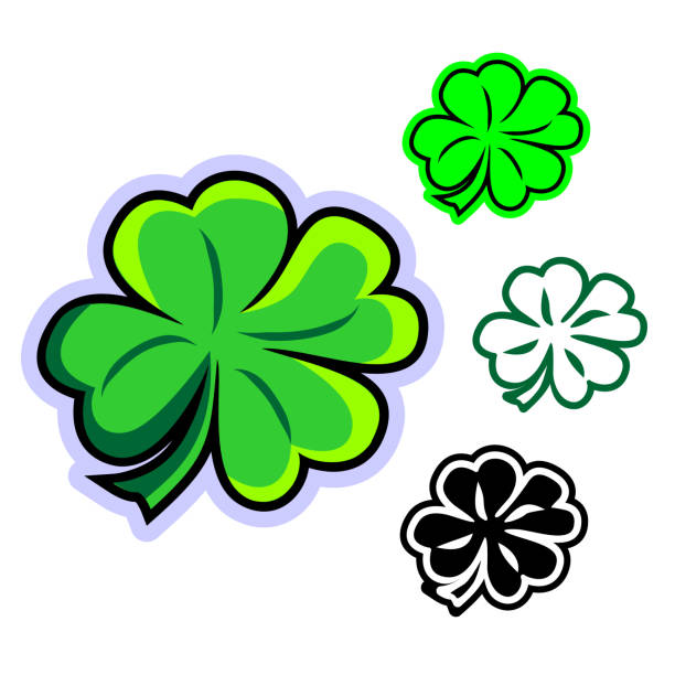 Simple flat vector clipart of four-leafed clover vector art illustration