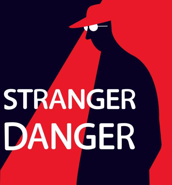 Simple flat vector illustration of stranger danger warning sign. Online kid safety measures. Child abuse and kidnapping by unknown people Stranger danger safety poster police meeting stock illustrations